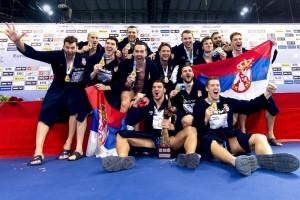 Team Serbia winner, Medal Ceremony LEN European Water Polo Championships 2016 Kombank Arena, Belgrade, Serbia  Day11  20-01-2016 Photo G.Scala/Insidefoto/Deepbluemedia